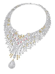 Chow Tai Fook - The reflections of Angkor - necklace - 18K white gold necklace, bracelet and earrings boast fancy-cut white, yellow and pink diamonds arranged inthree distinct layers, referencing to the mystic veil of Khmer cultural treasure.