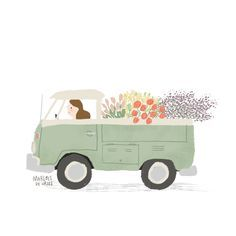 Flower truck by Marloes De Vries 10 Basic Things Every Car Owner Should Know It's so easy to get a car these days. Gravure Illustration, Illustration Noel, Illustrator, Art Mignon, Buch Design, Flower Truck, Animation, Cute Cars, Grafik Design