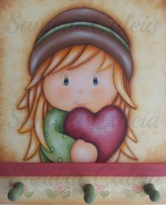 by Sandra Caleia : love girl. Arte Country, Cartoon Girl Images, Girl Cartoon, Tole Painting, Fabric Painting, Box Frame Art, Happy Birthday Flower, Country Paintings, Quilling Patterns