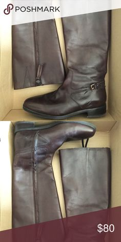 Ralph Lauren leather boots Soft brown leather Ralph Lauren boots with fringe zipper and gold ankle buckle. Worn once, just like new! Ralph Lauren Shoes Heeled Boots