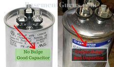 Identify failing capacitor by looking for bulge or swelling at the top or bottom Hvac Air Conditioning, Refrigeration And Air Conditioning, Electrical Maintenance, Hvac Maintenance, Electrical Circuit Diagram, Electrical Wiring Diagram, Ac Capacitor, Diy Air Conditioner, Electrical Installation