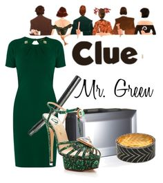 """Mr. Green from Clue"" by laniocracy ❤ liked on Polyvore featuring Roberto Cavalli, Rauwolf and Charlotte Olympia"