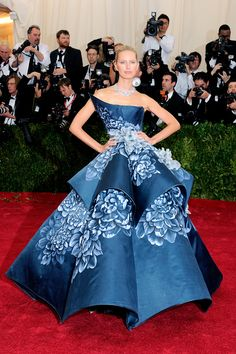 Karolina Kurkova in a midnight blue, sculpted Marchesa gown and Harry Winston jewels at the 2014 Met Gala