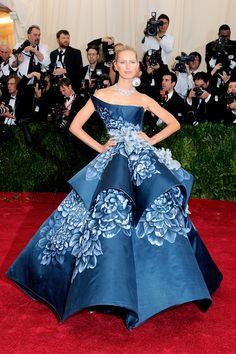 Karolina Kurkova in a midnight blue, sculpted Marchesa gown and Harry Winston jewels at the 2014 Met Gala