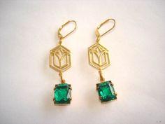Emerald Green Glass Stone Jewelry Earrings Gold Tone Filigree. $12.99, via Etsy.