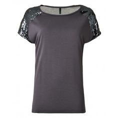 Short-sleeved T-shirt, in viscose jersey, solid colour with sequins applied on the shoulders.