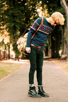 Swedish style, Swedish fashion, street boy, sweater, green pants, Dr Martens boots,   Own Fashion is photo gallery for fashion bloggers, photographers, stylists designers and fashion fans Share your fashion. It´s easy :) www.ownfashion.eu