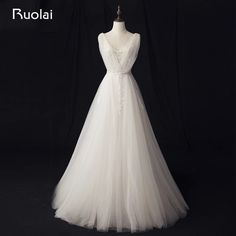 Real Photo Simple A-Line Wedding Dresses Long Lace Bridal Gown V-Neck Applique Tulle Boho Wedding Gown Robe de Mariage RW10 #Affiliate
