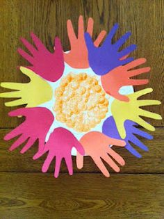 Hand print Flower -  Pinned by @PediaStaff – Please Visit http://ht.ly/63sNt for all our pediatric therapy pins