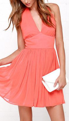 BB Dakota Amrei Bright Coral Halter Dress