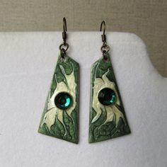 Emerald Green Earrings, Fantasy, Drop Earrings, Jewelry, Jewlery, Bijoux, Imagination, Schmuck, Drop Earring