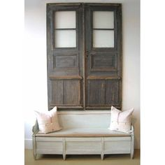Antique Swedish doors and bench Swedish Style, Scandinavian Style, Old Doors, Windows And Doors, Dream Furniture, Vintage Doors, Cabin Interiors, Recycled Furniture, Organizing Ideas
