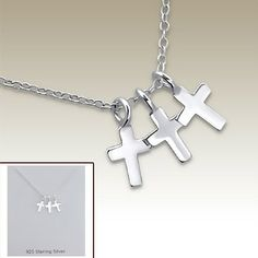 Silver necklace with cross pendants incl. display card - 17071
