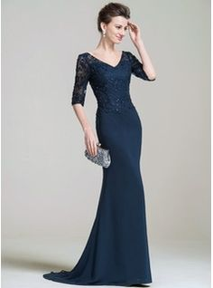 Trumpet/Mermaid V-neck Sweep Train Beading Appliques Lace Sequins Zipper Up Sleeves 1/2 Sleeves No 2016 Dark Navy Spring Summer Fall General Plus Chiffon Lace Mother of the Bride Dress