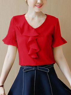 Fashionmia - Fashionmia V-Neck Flounce Plain Bell Sleeve Blouse - AdoreWe.com