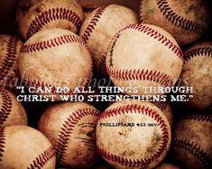 Vintage Baseball Portrait Boys Room Decor - Christian Art Photo - Scripture Bible Verse Phillipians 4:13 - Coach Gift on Etsy, $20.00 (Favorite Verses Etsy)
