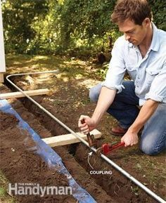 Electrical Wiring How to Run Power Anywhere is part of garden Lighting Electric The easiest way to bring electricity to a shed, garden or lamppost - Backyard Projects, Outdoor Projects, Home Projects, Energy Projects, Home Electrical Wiring, Electrical Projects, Electrical Outlets, Electrical Inspection, Electrical Engineering