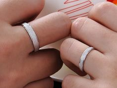 2pcs Free Engraving Grind arenaceous platinum couple rings/lovers rings on Etsy, $32.00 awesome love these!!!