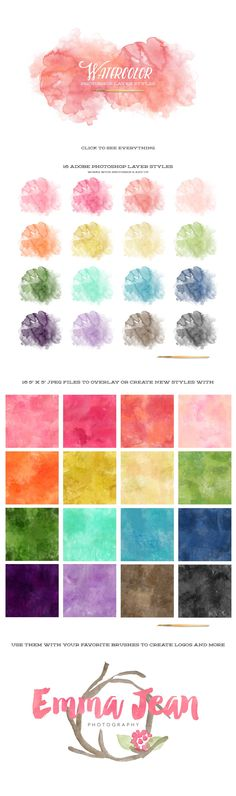Watercolor Photoshop Layer Styles & JPGs Sign up for my monthly newsletter to get exclusive free downloads! INCLUDES -16 Photoshop Styles in 1 .ASL file (must have Adobe Photoshop CS6 and up