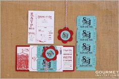 We designed this adorable carnival wedding invitations suite with classic carnival colors and had so many carnival theme details - including tickets!