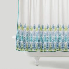 One of my favorite discoveries at WorldMarket.com: Blue/Green Print Shower Curtain
