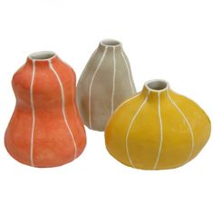 VIT Coral, Yellow, and Taupe Bud Vases, Set of 3