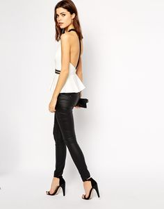 Enlarge Lipsy High Neck Top with Embellished Peplum