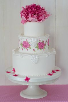 """""""Pink Perfection""""~hand painted cake with edible dyes and peony with a large variety of"""
