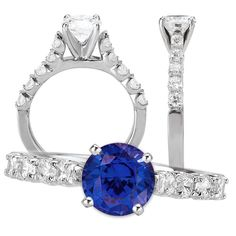 *18k cathedral style engagement ring with 6.5mm round blue sapphire and diamond shank