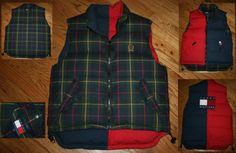 Tommy Hilfiger Reversible Duck Down Puffy blackwatch Tartan plaid zip Vest Jacket-Mens Medium