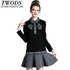 L- 5XL Fall Dropped Waist Autumn Dress Long Sleeve Ethnic Style Detail Good Quality Vestidos