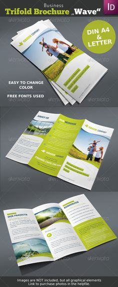 Business Trifold Brochure Wave - Corporate Brochures