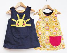 Items similar to Girls sunshine printed reversible dress on Etsy Dress For Girl Child, Little Dresses, Little Girl Dresses, Toddler Dress, Girls Dresses, Baby Dresses, Dress Girl, Reversible Dress, Kids Frocks