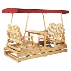 Get into the swing of things with this Rustic Natural Cedar Furniture Deluxe Wooden Outdoor Double Glider Loveseat Set .
