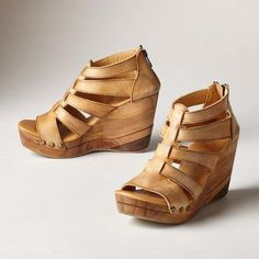 OLINDA WEDGE - A natural, washed finish gives a rustic elegance to these gladiator-inspired sandals by BedStü. Wooden mosaic heels. Each pair is unique. Leather.