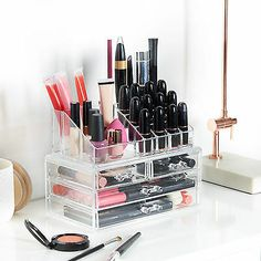 Acrylic Clear Make Up Organiser Cosmetic Display Jewellery Drawers Storage Case Acrylic Makeup Storage, Clear Acrylic Makeup Organizer, Display Boxes, Storage Boxes, Drawer Storage, Storage Hacks, Display Ideas, Storage Ideas, Cosmetic Display