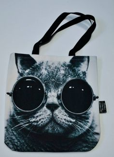 Handbags with Cats On Them   Bag with face of Cat in Sunglasses – Limitless Bags UK