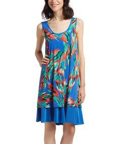 Blue & Orange Abstract Shift Dress #zulily #zulilyfinds
