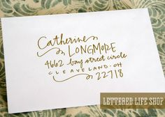 Wedding Calligraphy Envelope Addressing Gold by LetteredLifeShop, $2.00