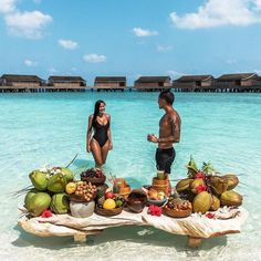 ✨Use nocurfewtravel to feature next! ~ Breakfast of champions in the Maldives at 🍇🍌🍓🍏 ~ 📸 ---------------------------------------------------- Luxury Boat, Luxury Travel, Honeymoon Destinations, Holiday Destinations, Hotels And Resorts, Best Hotels, Ibiza, Breakfast On The Beach, Beach Place