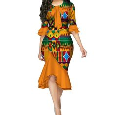African print fashion dresses - Ankara Bazin Riche Bow Knot Patchwork African Dresses for – African print fashion dresses African Fashion Ankara, Latest African Fashion Dresses, African Print Fashion, African Women Fashion, Africa Fashion, African Style, African Print Dress Designs, African Print Clothing, Women's Clothing