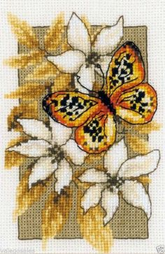 """Vervaco Counted Cross Stitch Kit 3"""" x 5"""" Butterfly on Flowers III 144949 Sale…"""