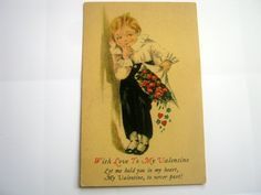 Vintage Valentine Little Boy with Flowers Postcard by 2MoonswithCharm on Etsy