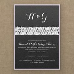 Captivating Black Shimmer with White Crochet Invitation, assembled. 25% discount and Free Shipping at Quaint Wedding Stationery.