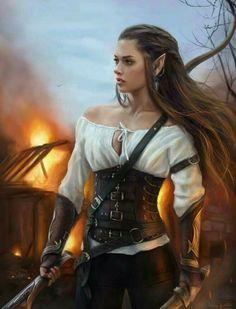 f Elf Ranger Leather Longbow Long Sword burning hamlet farmland