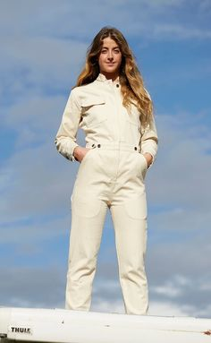 Ecru Cotton Boiler Suit – Spry Workwear Boiler Suit, Jeans Button, Overalls, Collar And Cuff, Work Wear, Windbreaker, Khaki Pants, 30 Degrees, Stylish