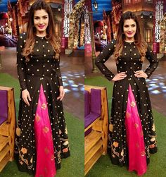 Latest Front Open Double Shirt Dresses Designs Collection Trends consists of front open frocks, double shirt gowns, angrakha double shirts etc. Indian Attire, Indian Wear, Indian Outfits, Indian Designer Outfits, Designer Dresses, Indian Fashion Trends, Designer Kurtis, Indian Gowns Dresses, Saree Dress