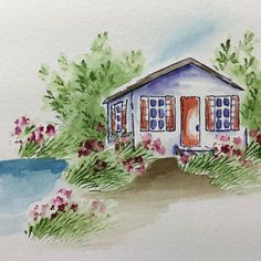 I would like to live here... Tutorial coming soon! Subscribe to my YouTube channel so you don't miss it!  #artimpressions #watercolor #cottage