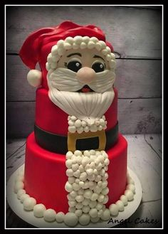 Auctioned off for Battered Women ♡- Ho Ho Hope - Cake by Angel Rushing Christmas Deserts, Christmas Cupcakes, Christmas Goodies, Christmas Treats, Santa Cake, Christmas Cake Designs, New Year's Cake, Cake Decorating Techniques, Novelty Cakes