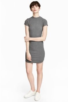 Fitted jersey dress - Grey marl - Ladies | H&M